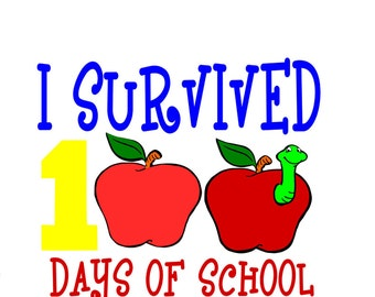 Survived 100 Days of School SVG/studio3/Dxf/Eps/png Cut Files INSTANT DOWNLOAD