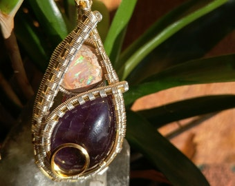 Elegant Fine Silver Wire Wrapped Pendant with Galaxy Opal and Amethyst - Handsy Handmade -