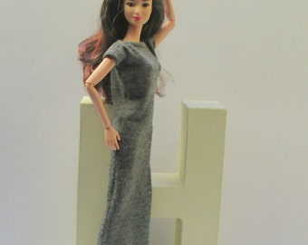 Grey sleeveless Maxi dress for Barbie, Silkstonebarbie, Poppyparker, Fashionroyalty