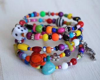 Multicolor Bracelet - Memory wire Bracelet - Charms Bracelet