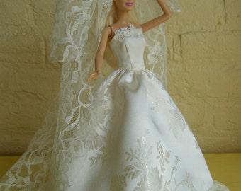 Barbie doll clothes, wedding dress, wedding gown