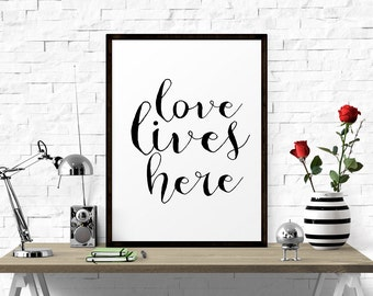 Inspirational Art, Love Lives Here, Typography Poster, Printable Art, Quote Wall Art, Typography Art Print, Inspirational Quote, Typography