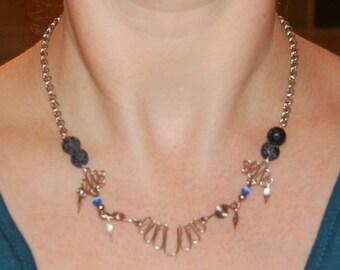 Boho-style Diffuser Necklace - Lava Stone Beads