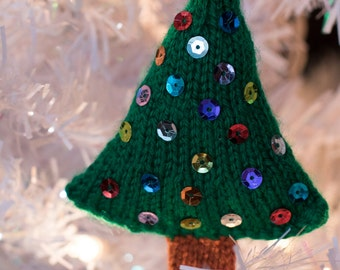 Hand Knitted Christmas Tree Ornament with Sequins