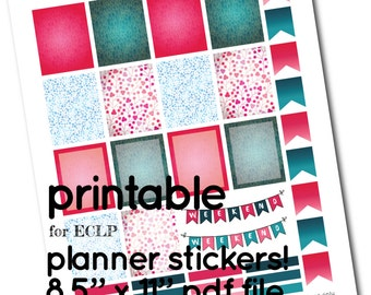 ECLP Printable Dark Teal and Fuchsia Full Box Stickers  - Boxes, Headers and Flags for Planner