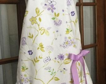 Purple Floral Ruffled Apron in Retro Style - Purple Flower Apron - Flower Apron - Purple Apron