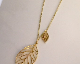 Long Leaf Necklace, Gold Leaf Necklace, Charm Necklace, Long Necklace with Pendant