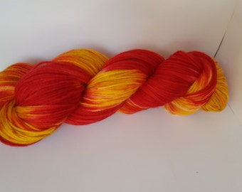 Hand painted yarn - Becca - Red and yellow superwash merino wool sock yarn