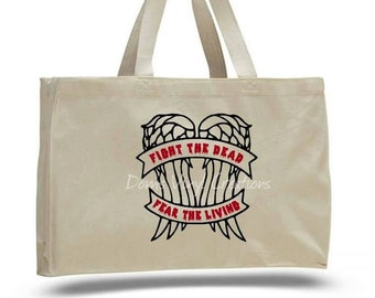 TWD inspired tote, Daryl Dixon wings tote, Market bag, Canvas Shopping Tote w/ Gusset, zombie walking dead tote