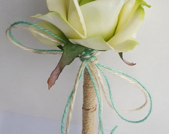 Pale Green and Mint - Rustic Wedding Jute-wrapped Guest Book Handmade Flower Pen ITEM 175