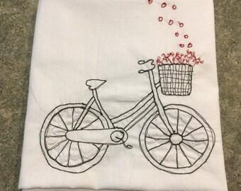 Bicycle Red Flower Basket Flour Sack Tea Towel
