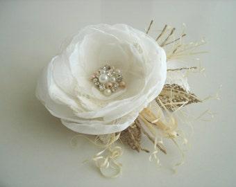 Wedding hair piece Bridal hair flower Bridal Hair Piece Wedding hair flower Bride hair accessories Wedding headpiece Ivory Vintage Hair Clip
