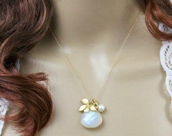Moonstone Necklace, Gemstone Necklace,Orchid Necklace,Custom Necklace,Personalized Jewelry,Initial Necklace,June Birthstone,Mothers necklace