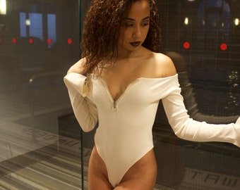 Mya - Cream Flared Sleeve Bodysuit