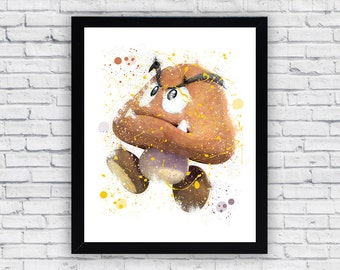 Goomba Super Mario Bros Watercolor print, Goomba Printable Wall Art, Goomba wall decor, Goomba poster