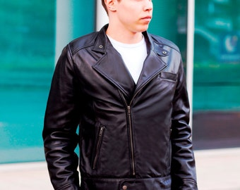 Biker Jacket - Mens Leather jacket - Black Leather Jacket - Leather Jacket Men - Motorcycle Jacket - Moto Jacket - 100% Lambskin - Branded
