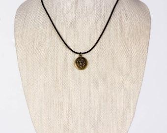 Men's Leather Necklace with Lion Pendant