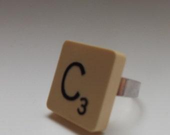 scrabble tile ring 'C' adjustable