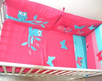 Round bed and original cover, OWL and butterflies theme