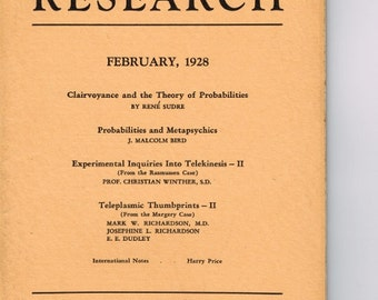 PSYCHIC RESEARCH * February 1928 * GHOSTBUSTERS * American Society for Psychical Research * Occult *