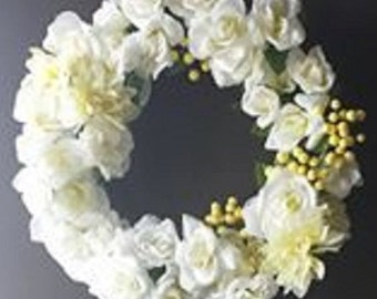 Creme Rose Peony Summer Wreath