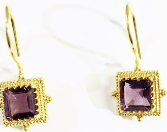 Amethyst Gemstone Earrings in Gold