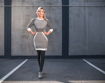 Polygon dress grey - geometric dress with colour blocking