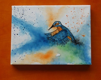 Kingfisher: Mini Canvas & Easel
