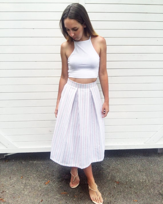 Midi skirt / Handmade skirt / Pleated skirt / White pleated
