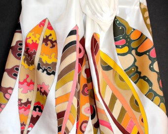 White Painted Silk satin scarf,Long large colorful leaves,Gold khaki yellow green red,Luxury gift for her,Retro Vintage art,Fall,Winter