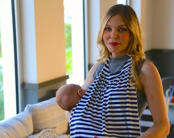 Best Seller and Perfect Christmas Gift! MamaBib Breastfeeding Cover in Navy & Ivory Stripes - Baby Feeds out in the Open!