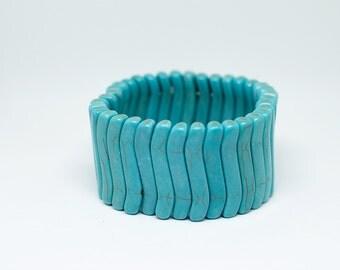 Turquoise Blue Magnesite Stretch Bracelet
