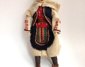 Vintage Souvenir Doll - Vintage Cloth Doll - Foreign Doll Collectible - Vintage Folk Art Costume Doll - Eastern European Doll - Balkan Doll
