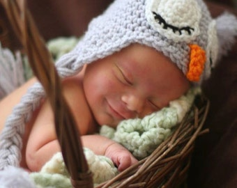 Sleepy Owl Crochet Hat - Beanie with Earflaps, Colorful Stripes, and Braids - Newborn / Toddler / Child / Teen / Adult - Made to Order