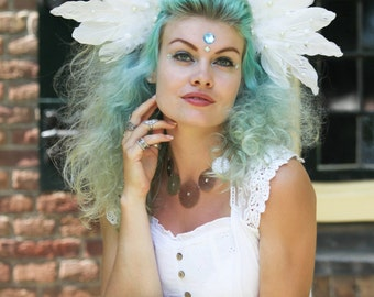 Fallen Angel - Feather Headpiece White
