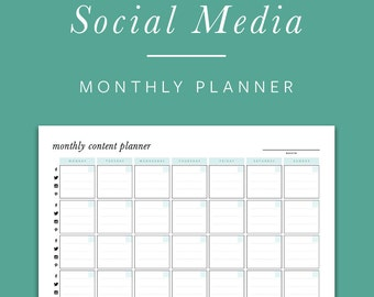 Monthly Social Media Planner - INSTANT DOWNLOAD - Printable PDF -  Facebook, Twitter, Instagram, Pinterest