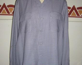 1940s Vintage Men's Gabardine shirt,Mc Gregor,Pied de poule,Loop,Flap pockets,Pointed Collar, Large