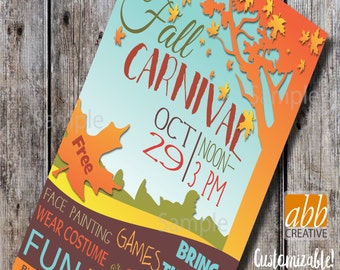 Fall Carnival Poster- Harvest Festival flyer- School Church or Community Event - 11x17 Poster - 8.5x4.5 Flyer - 8.5x11 Flyer - Booth Signs