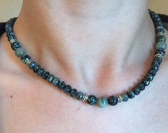 Necklace, Czech Fire Polished Glass Beads, Jade, Silver Spacers