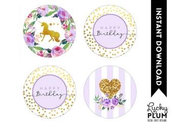 Unicorn Cupcake Topper / Woodland Cupcake Topper / Horse Cupcake Topper / Purple Flower Cupcake Topper / Star Cupcake Topper