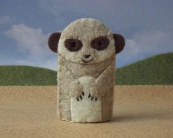 Meerkat Felt Finger Puppet - Desert Meerkat Puppet - Desert Animal Puppet - Felt Animal Meerkat