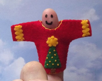 Christmas Sweater Finger Puppet - Ugly Sweater Puppet - Ugly Christmas Sweater Finger Puppet - Holiday Stocking Stuffer Toy