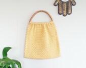 Buttercream Yellow Mod Crochet Handbag~ Top Handle Bag~ Retro Purse~ Boho Chic~ Hippie~ Vintage Accessories~ Wooden Handle Purse~ Vegan Bag