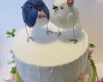 Wedding cake topper,  lovebirds, French navy blue, white and gold