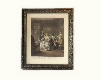 Antique French Etching & Engraving, La Toilette de la Courtisane, Joseph Charles Giuseppe Flipart, Wood Frame 20 x 17