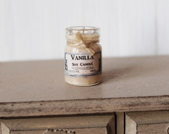 Dolls House Miniature Shabby White Candle in a Jar
