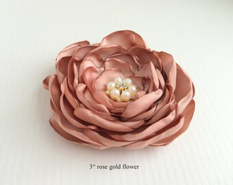 Rose Gold Flower Hair Piece, Rose Gold Fascinator,Flower Brooch,Hair Pin,Flower Hair Clip,Bridal Headpiece,Hair accessory,Rosegold Headpiece