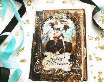 Halloween card, Marie Antoinette  as a witch, book of spells, holiday greeting