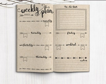 Printable Weekly Planner Inserts, Midori Weekly Spreadsheet, Printable Midori Traveler's Notebook weekly planner inserts, PDF file