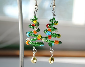 Spiral Christmas Tree Earrings, Glass Beaded Holiday Jewelry